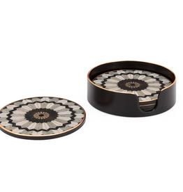 Mosaic Gold Trim Coasters - Set of 4