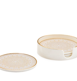 Florence Gold Trim Coasters - Set of 4
