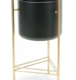 """Black Planter on Gold Stand D9.5"""" H20"""""""