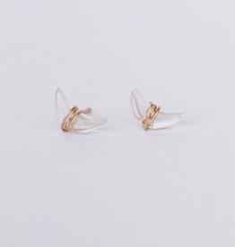 Clear Quartz Wire Wrapped Moon Earrings