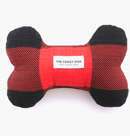 """Red and Black Check Dog Bone Squeak Toy L7.5"""" W4.5"""""""