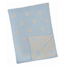 """Blue and Silver Polka Dot Baby Blanket L30"""" W40"""""""