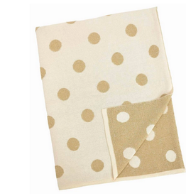 """Cream and Gold Polka Dot Baby Blanket L30"""" W40"""""""