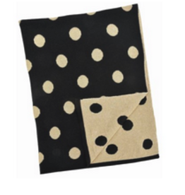 """Black and Gold Cotton Polka Dot Baby Blanket L30"""" W40"""""""