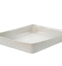 "Square Basketweave Platter L13.4"" W11.6"""