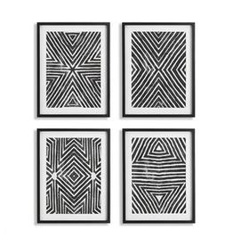 "Achromatic Geometric Print L25.5"" W19.5"" - 4 Assorted"
