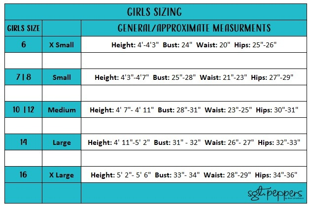 Sgt. Peppers Sizing Chart for Girl and Teen Clothing