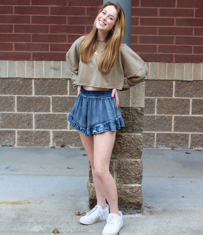 WASHED DENIM SKORT