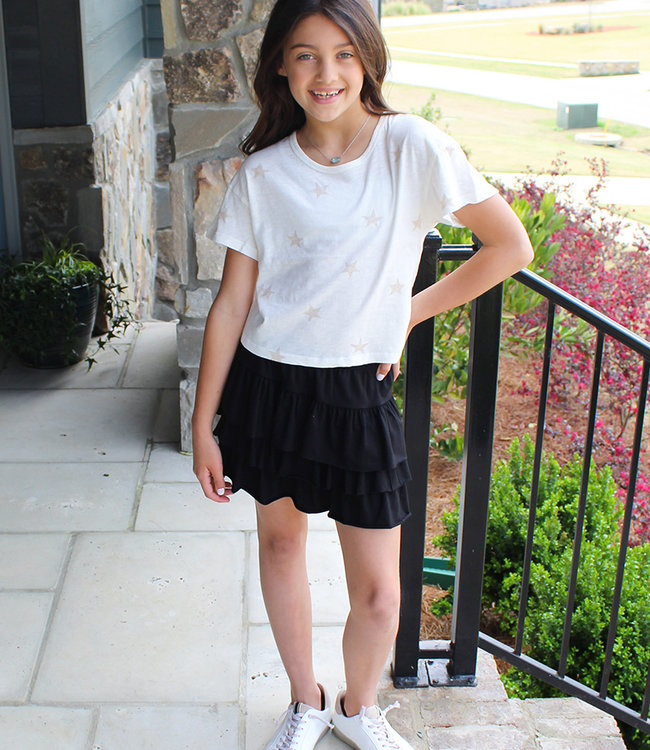G TIERED SKIRT- Black or Gray