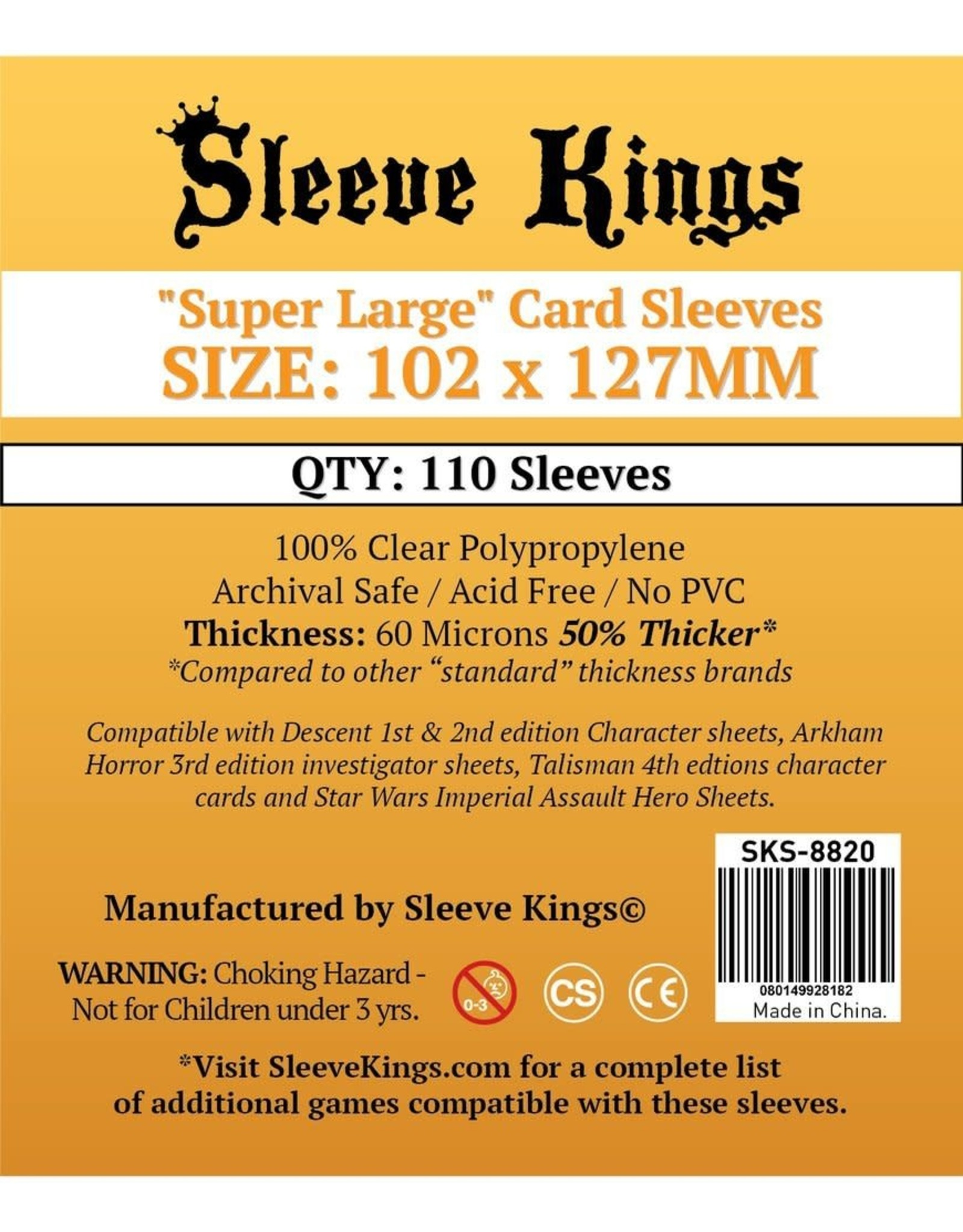 "Sleeve Kings Sleeve Kings ""Super Large"" Sleeves 102mm x 127mm"