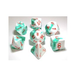 Chessex Lab Dice 3: Gemini 7Pc Mint Green White/Orange