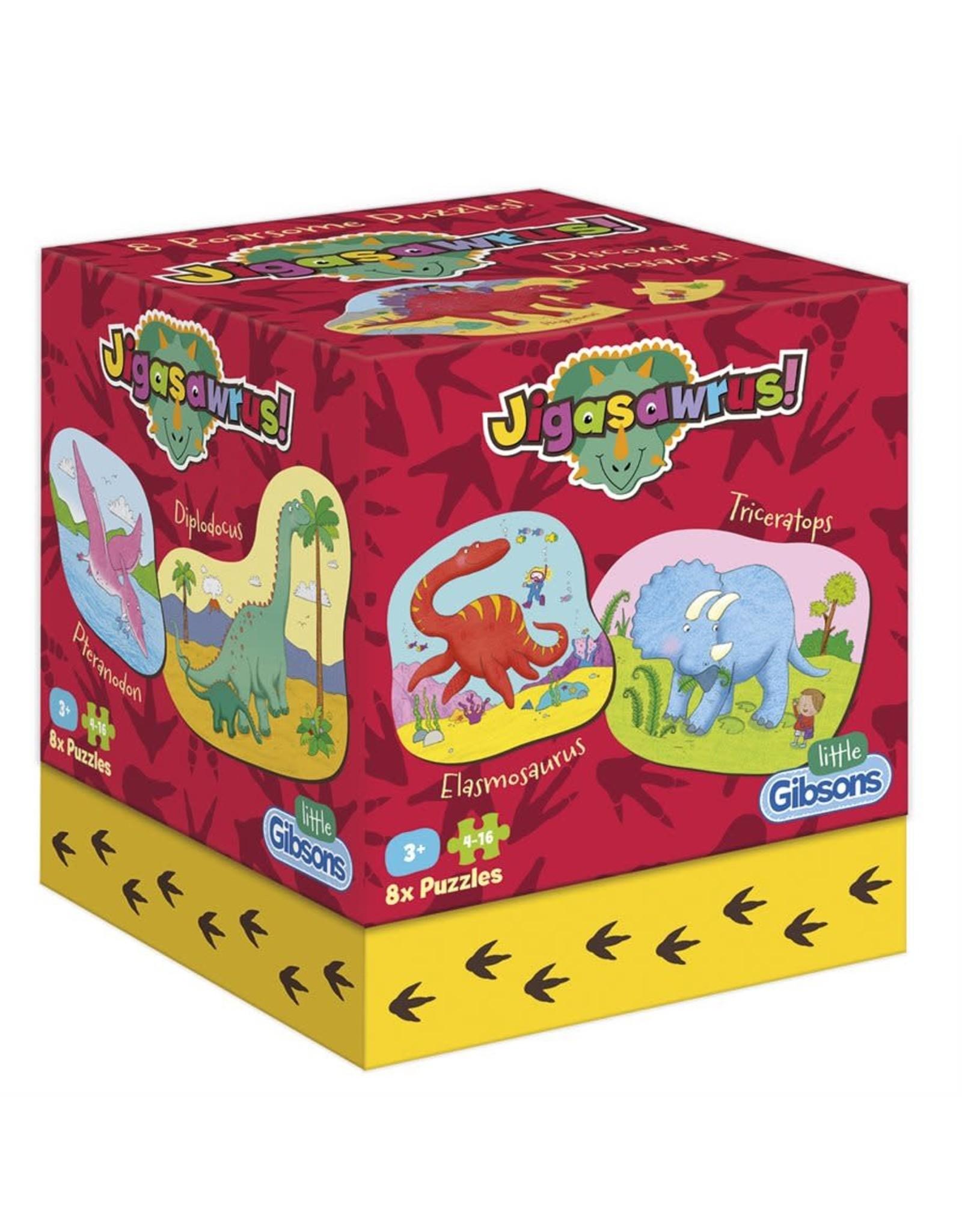 Gibsons 4-16 Dinosaur Jigasawrus ( 8 Puzzles)