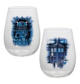 Bioworld Doctor Who 2 PC 18o Contour Glass Set