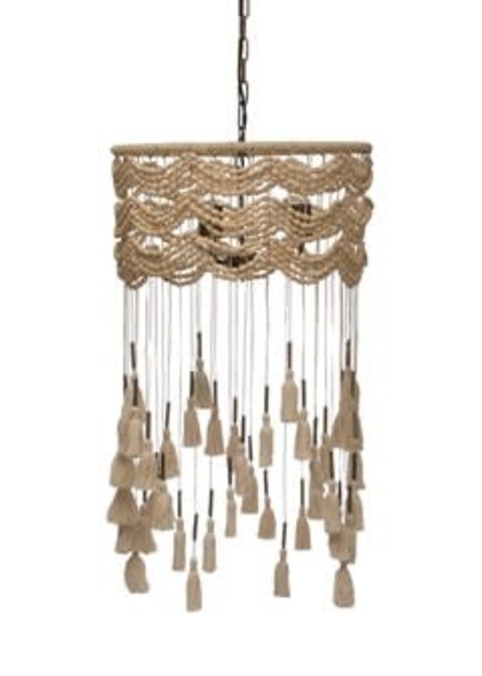 Pendant Lamp w/ Metal Tubes & Cotton Tassel