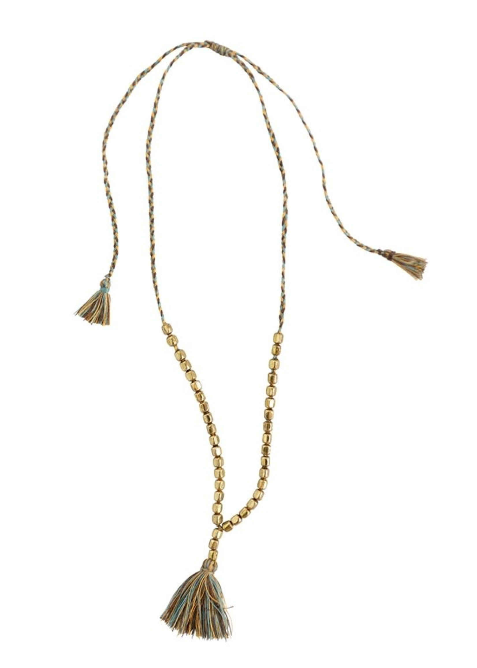 Metal Necklace w/ Brass Colored Beads and Tassel