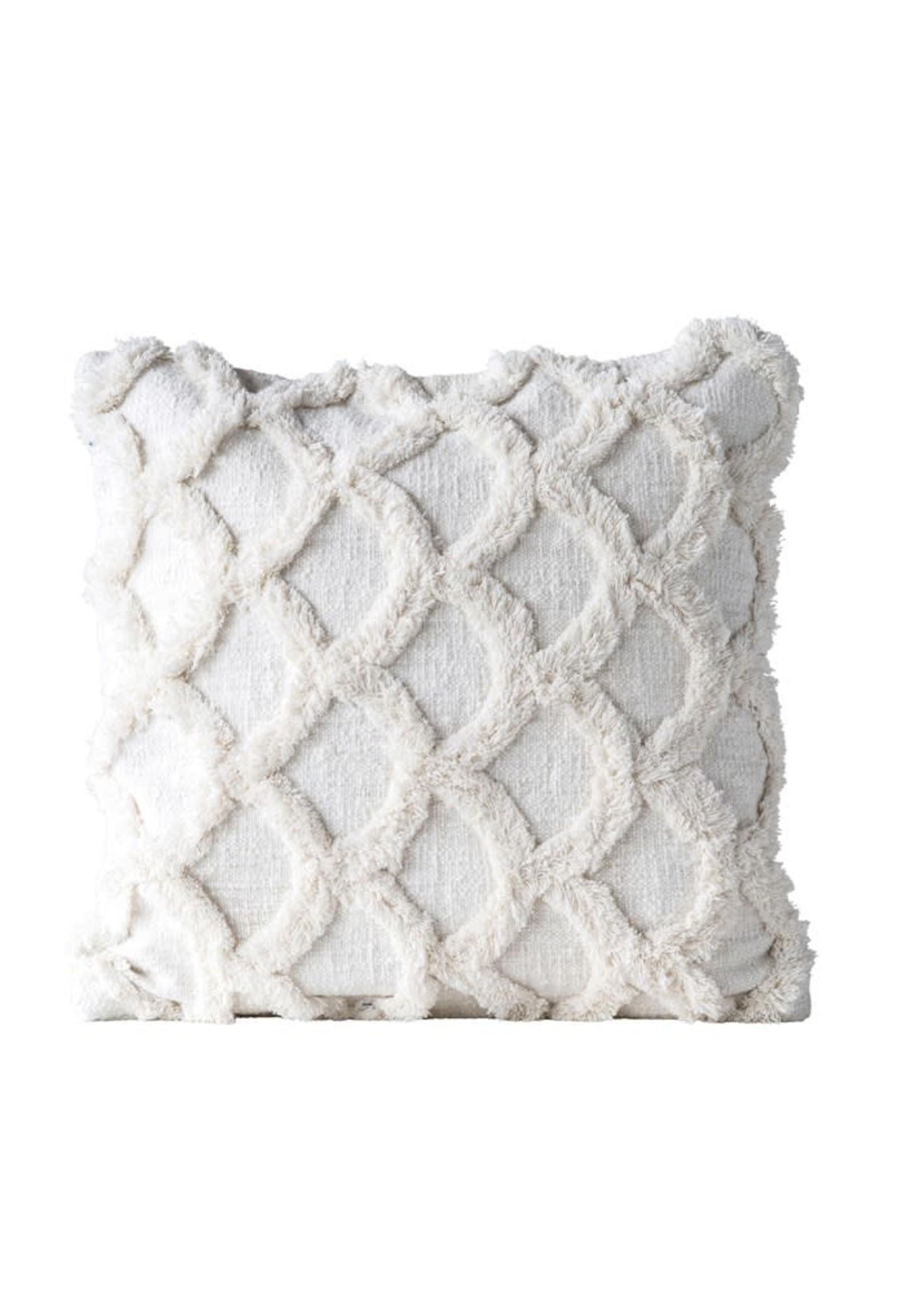 """18"""" Square Cotton Chenille Scalloped Pillow, White"""