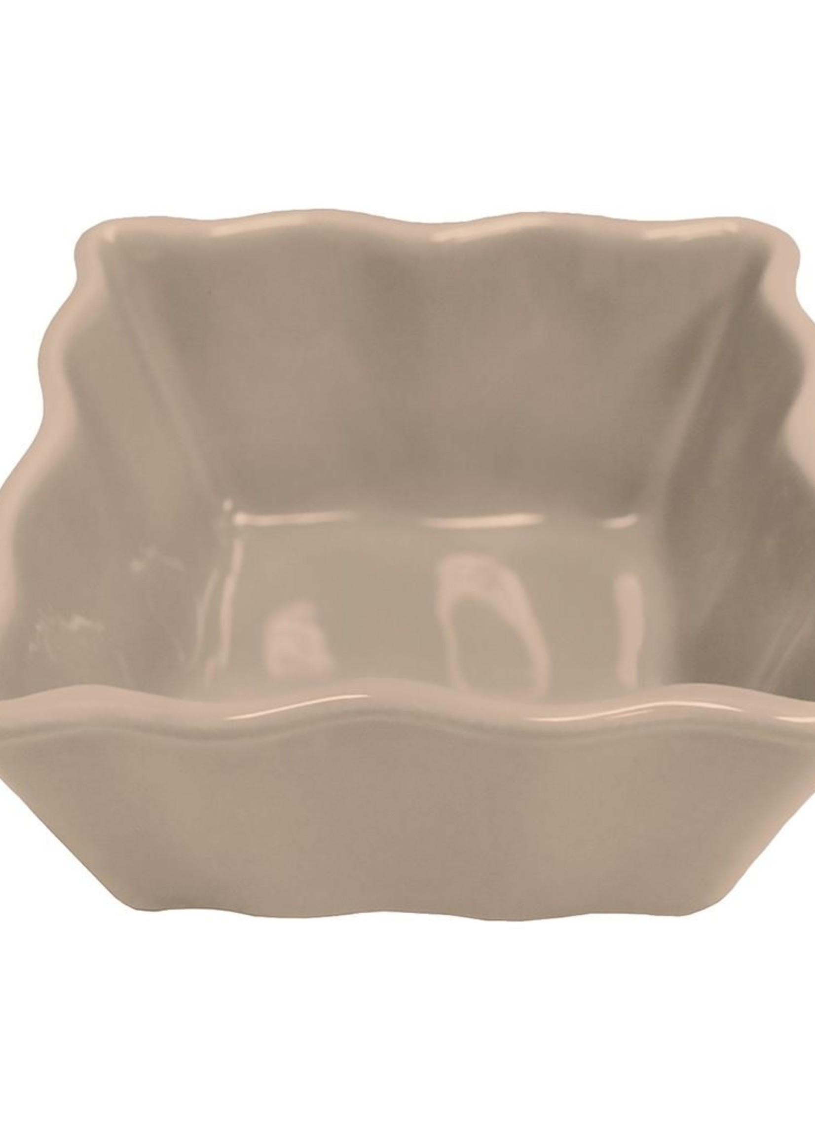 Baking / Condiment Dish, Small Square Scalloped, Gray