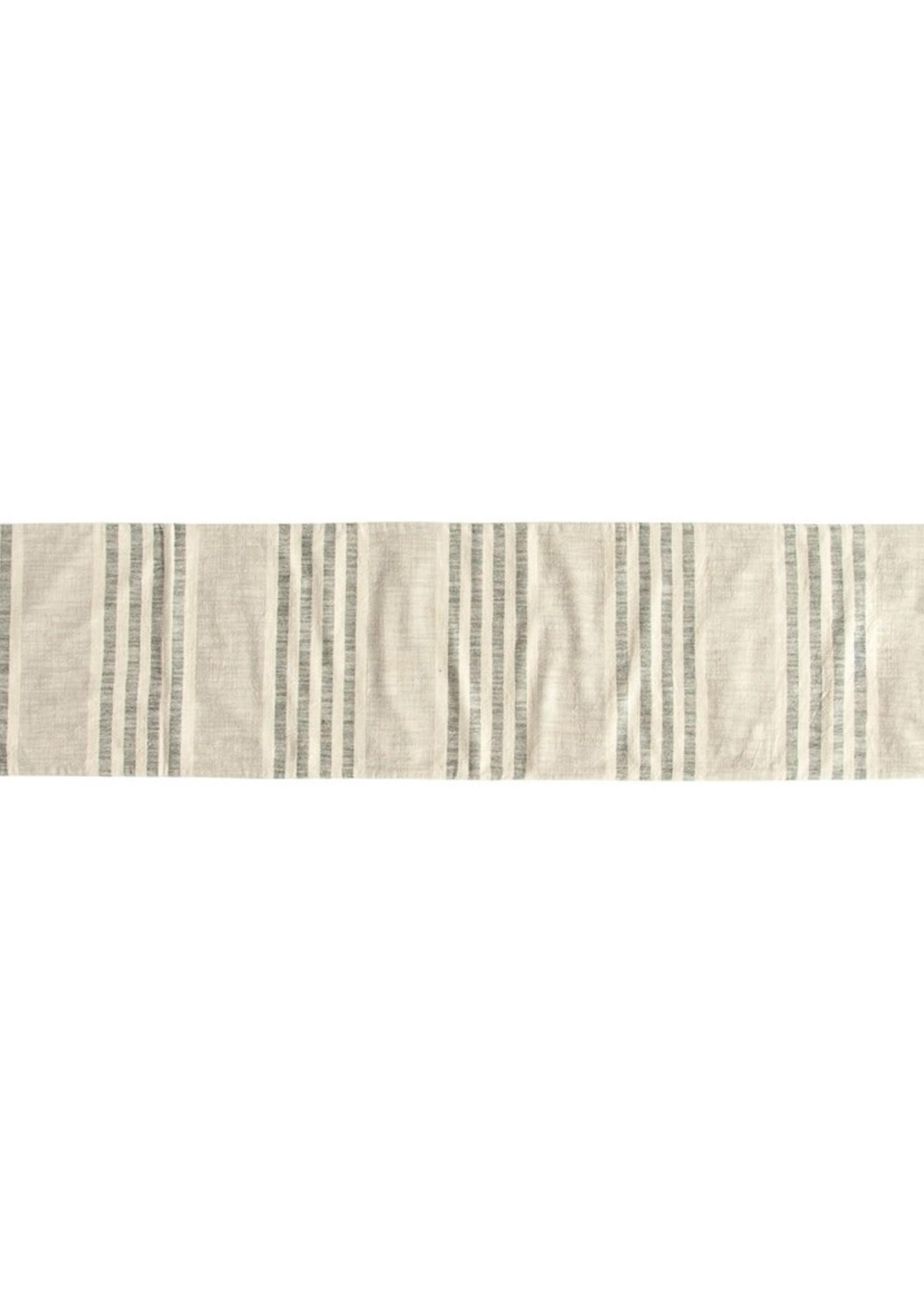 Woven Cotton Striped Table Runner, Black & Cream