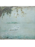 Wood Framed Wall Decor w/ Vintage Reproduction Swans