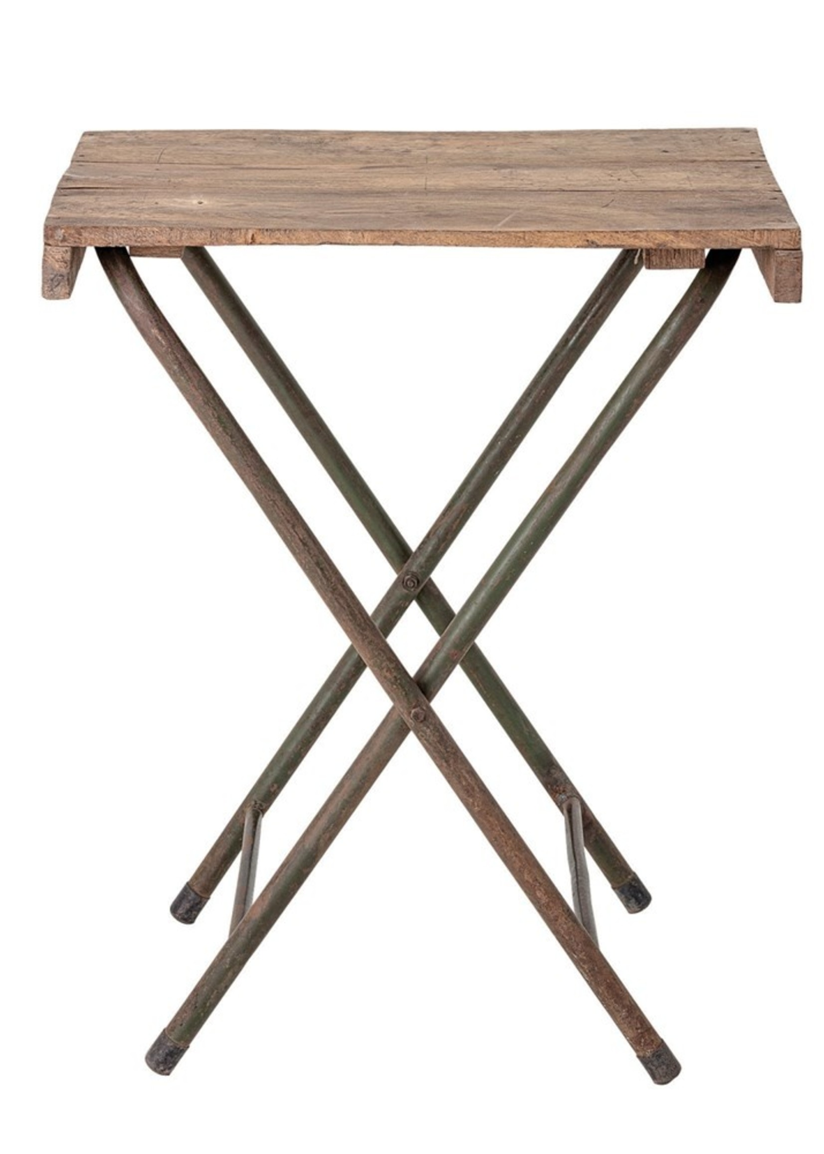Found Wood Folding Table with Metal Legs, KD (Each One Will Vary)