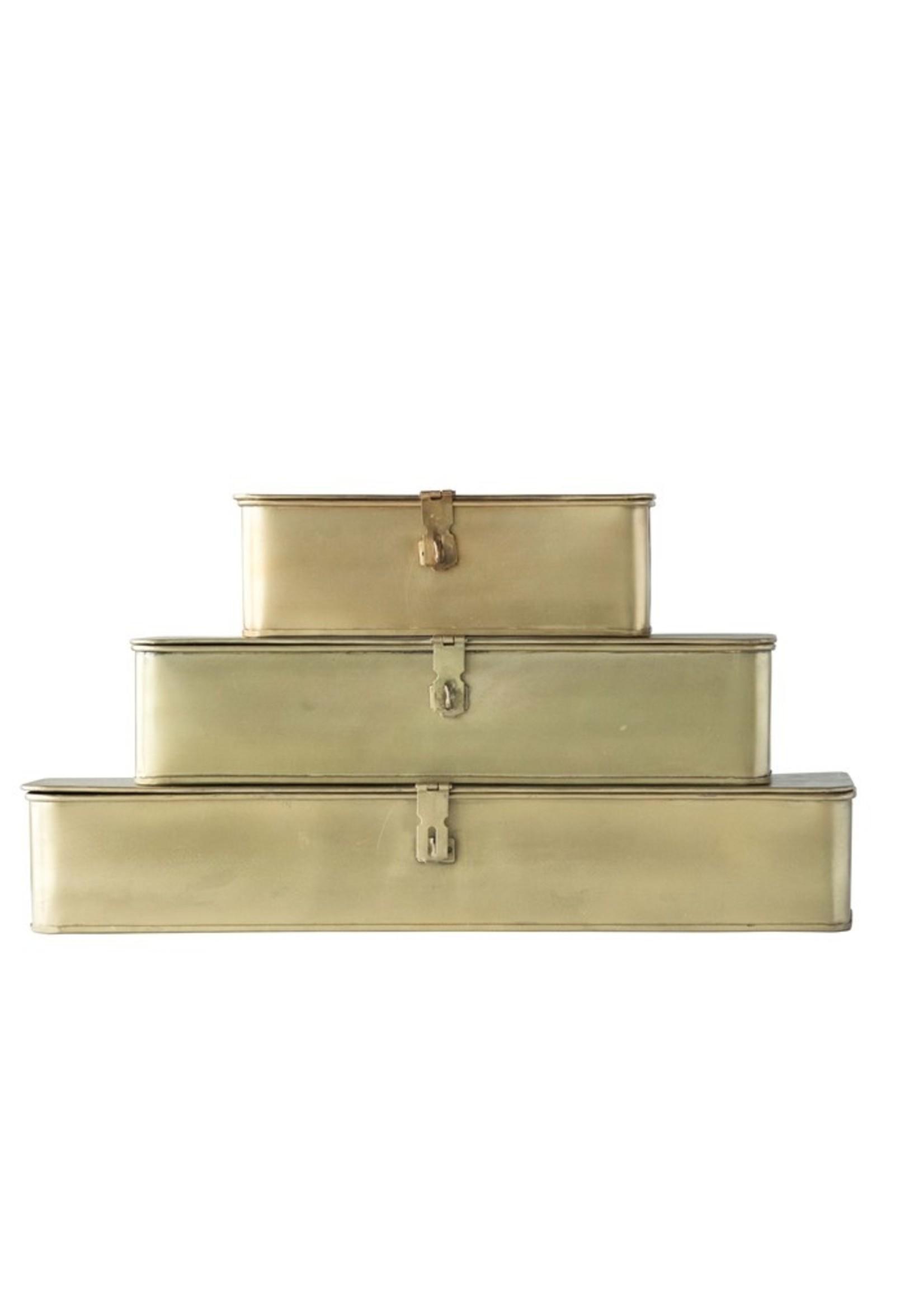 Decorative Metal Boxes, Brass Finish, Set of 3