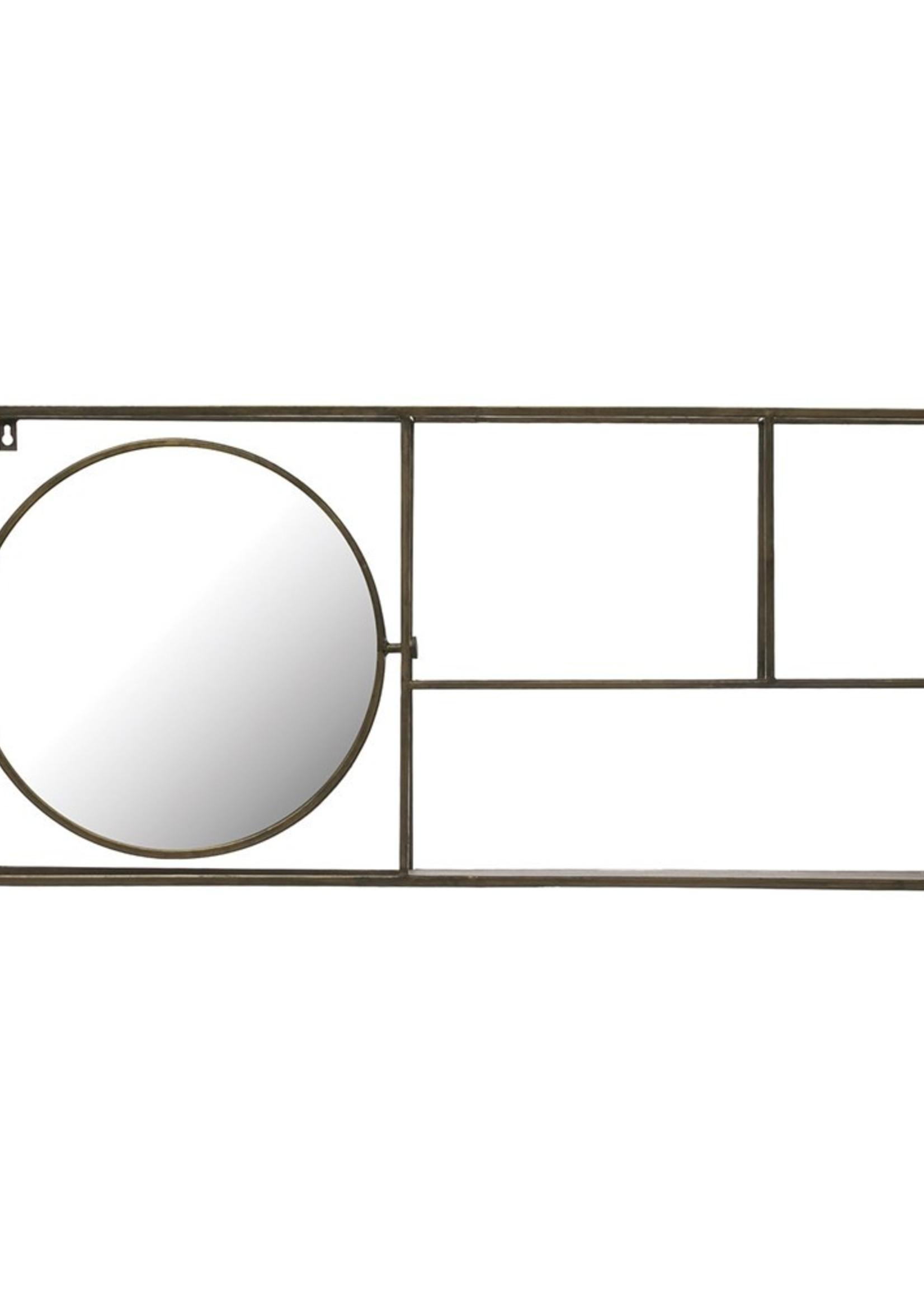 Metal Mirror 2-Tier Wall Shelf, Antique Gold Finish