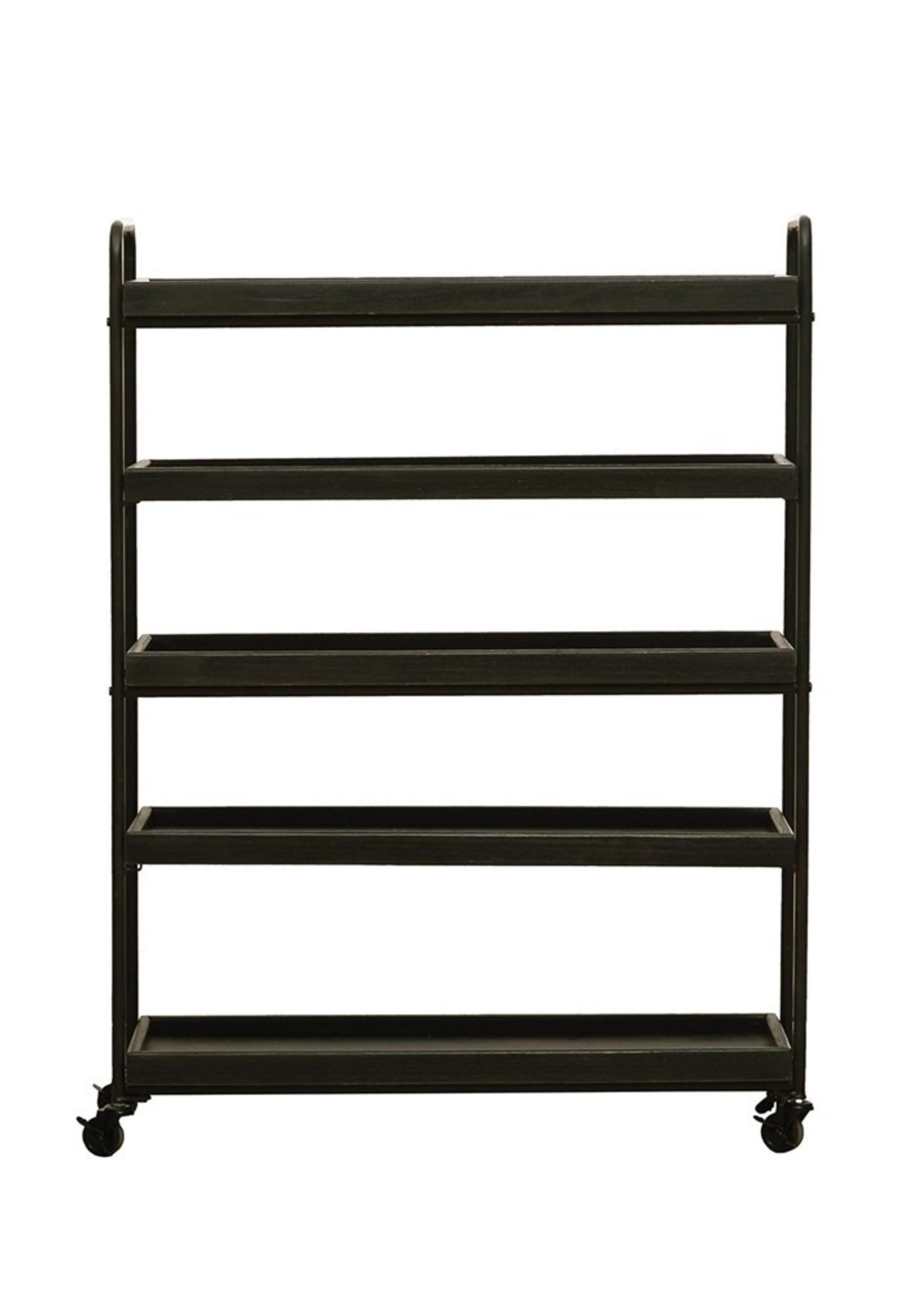 Wood & Metal 5-Tier Shelf on Casters, Black, KD