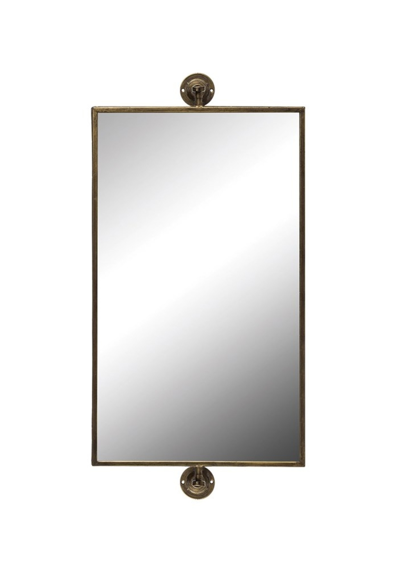 Metal Swivel Wall Mirror, Antique Gold Finish (Hangs Vertically & Horizontally)