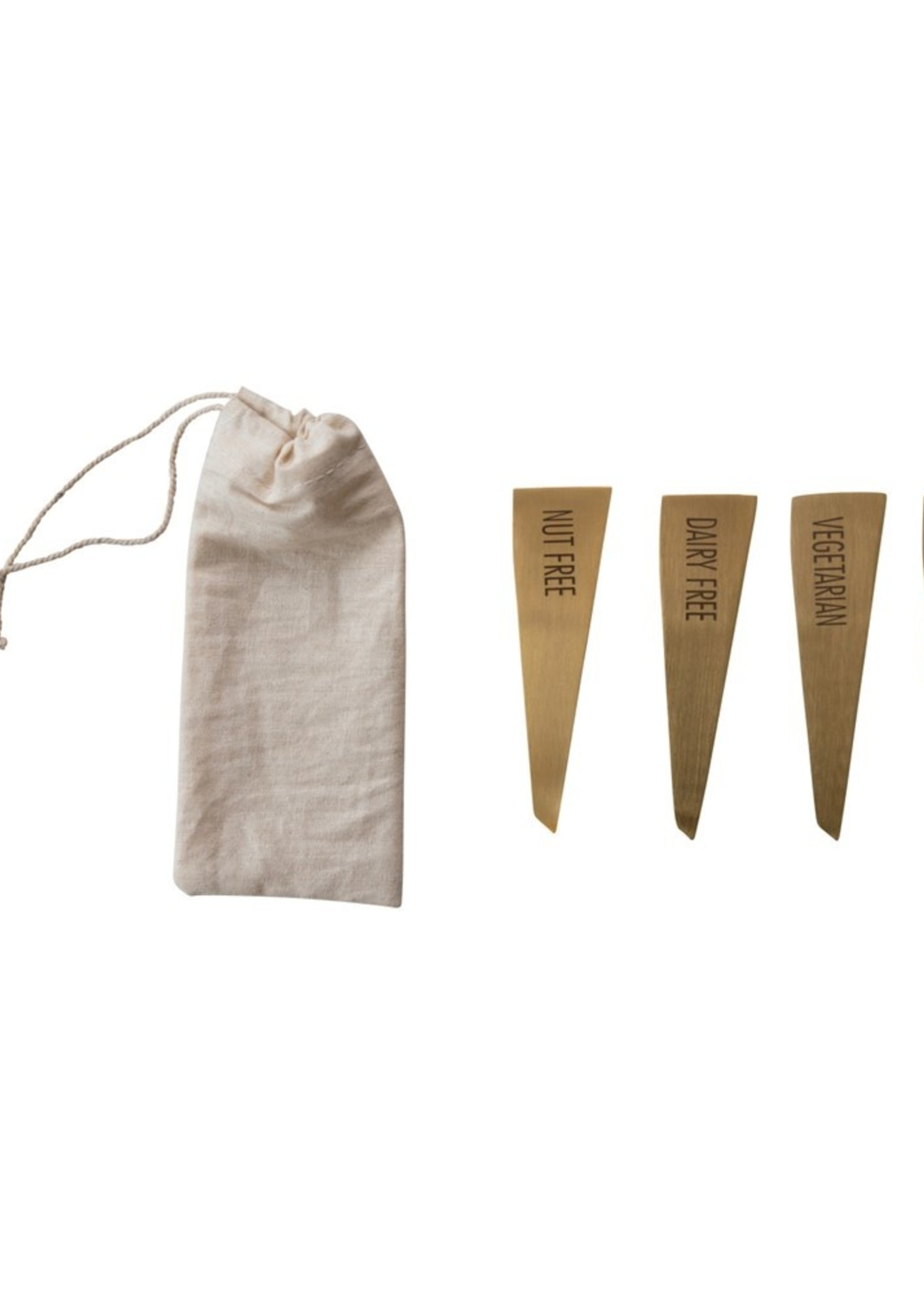 Stainless Steel Food Markers, Brass Finish, Set of 4 in Drawstring Bag