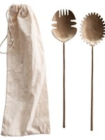 Hand-Forged Brass Salad Servers, Antique Brass Finish, Set of 2 in Drawstring Bag