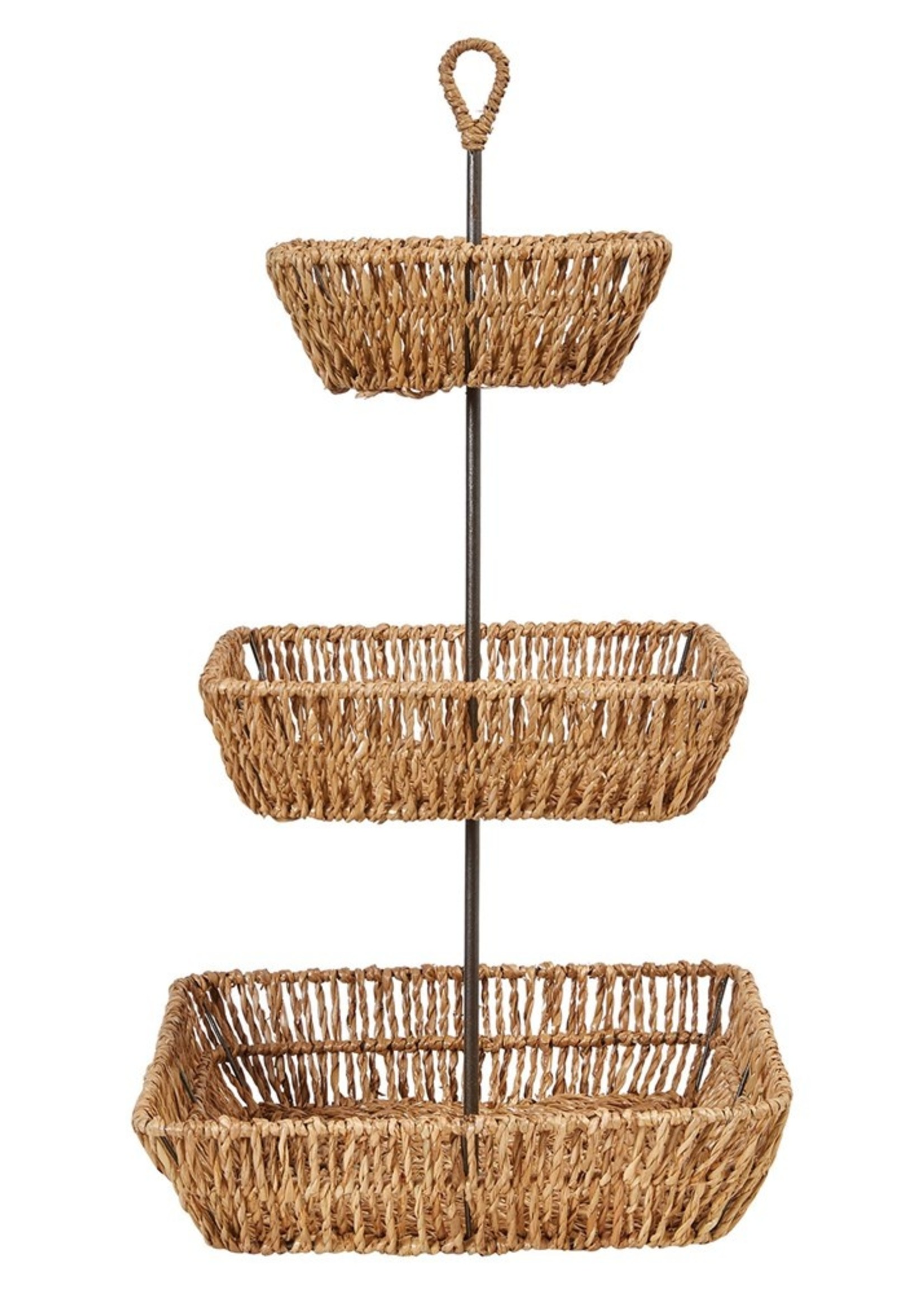 Decorative Hand-Woven Seagrass 3-Tier Tray w/ Handle