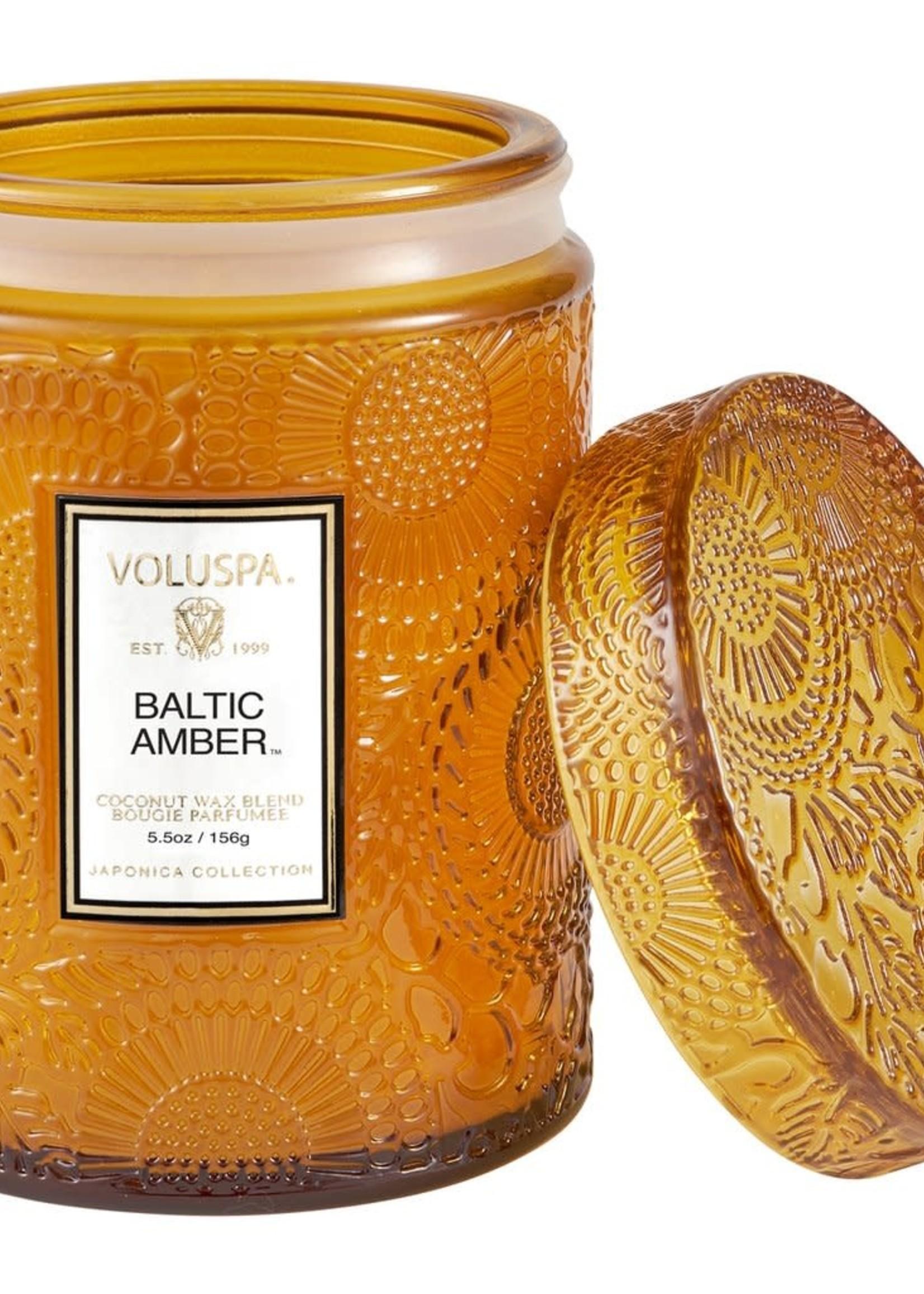 Baltic Amber 5.5 Oz Mini Embossed Glass Jar Candle W/ Lid