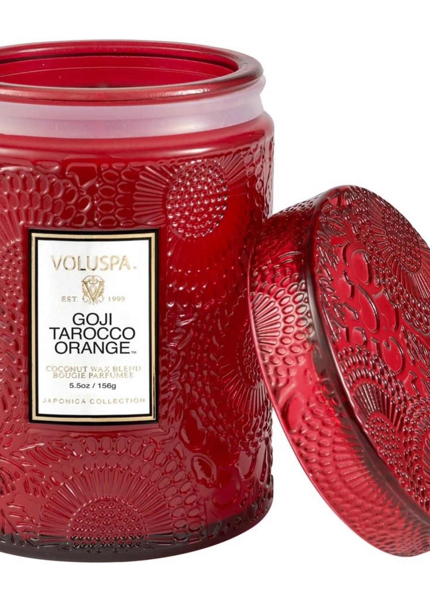 Goji & Tarocco Orange 5.5 Oz Mini Embossed Glass Jar Candle W/ Lid