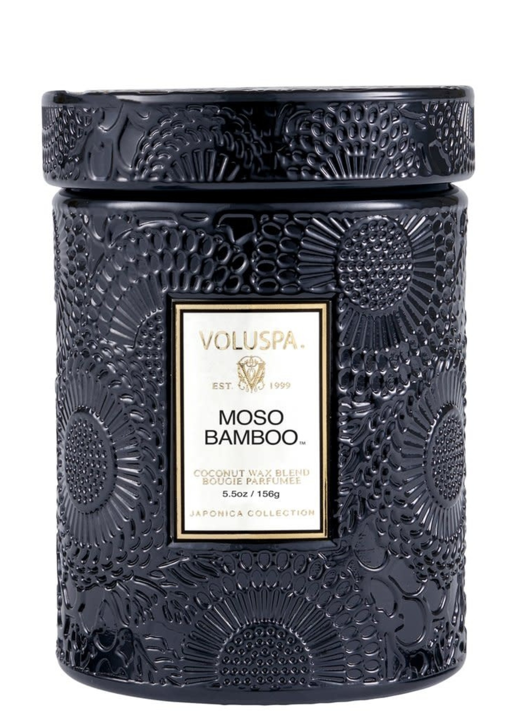 Moso Bamboo 5.5 Oz Mini Embossed Glass Jar Candle W/ Lid