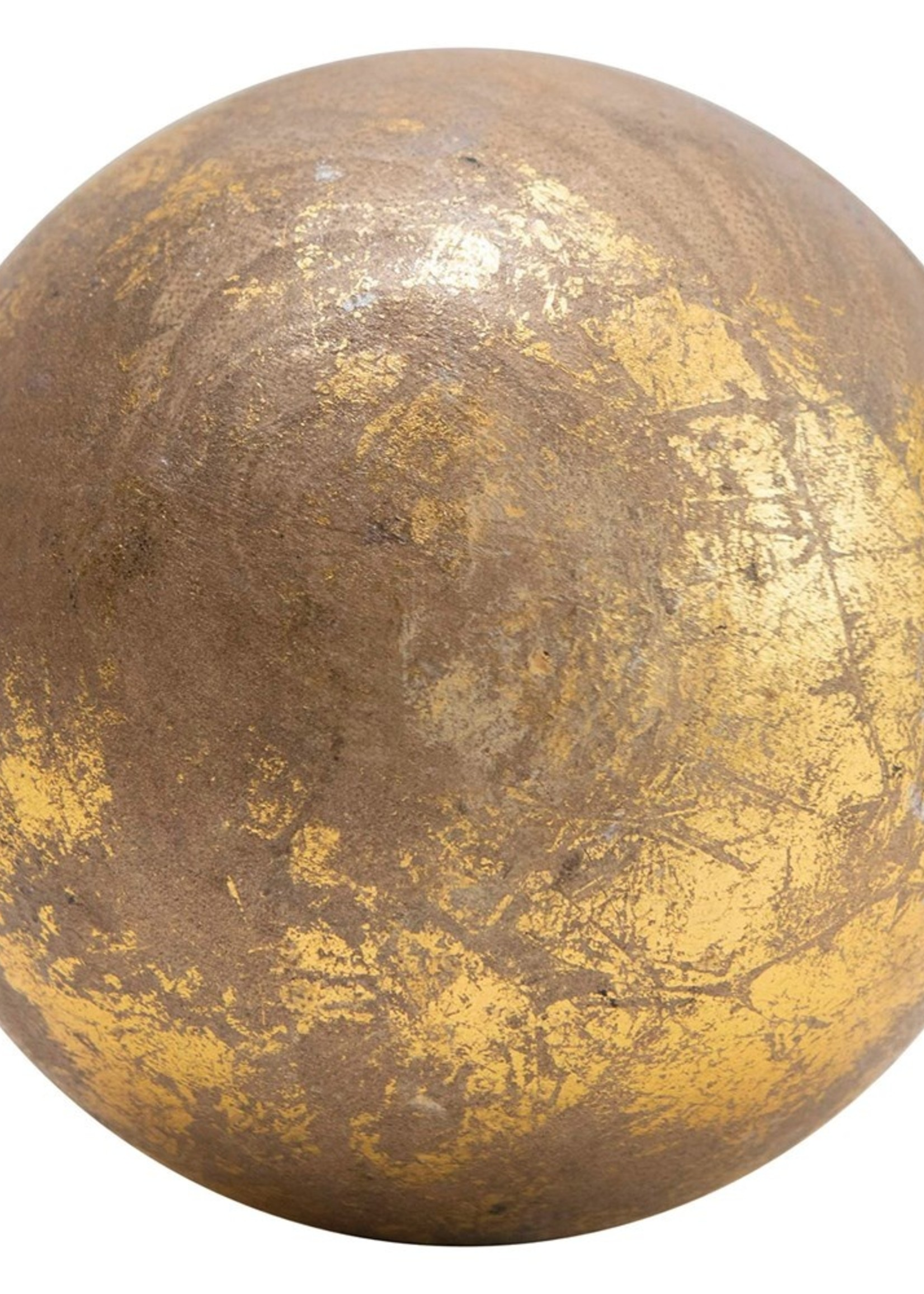 Round Mango Wood Orb, Gold Foil Finish
