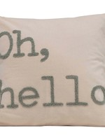 """Square Cotton Pillow w/ Embroidery, Grey, """"Oh, Hello"""