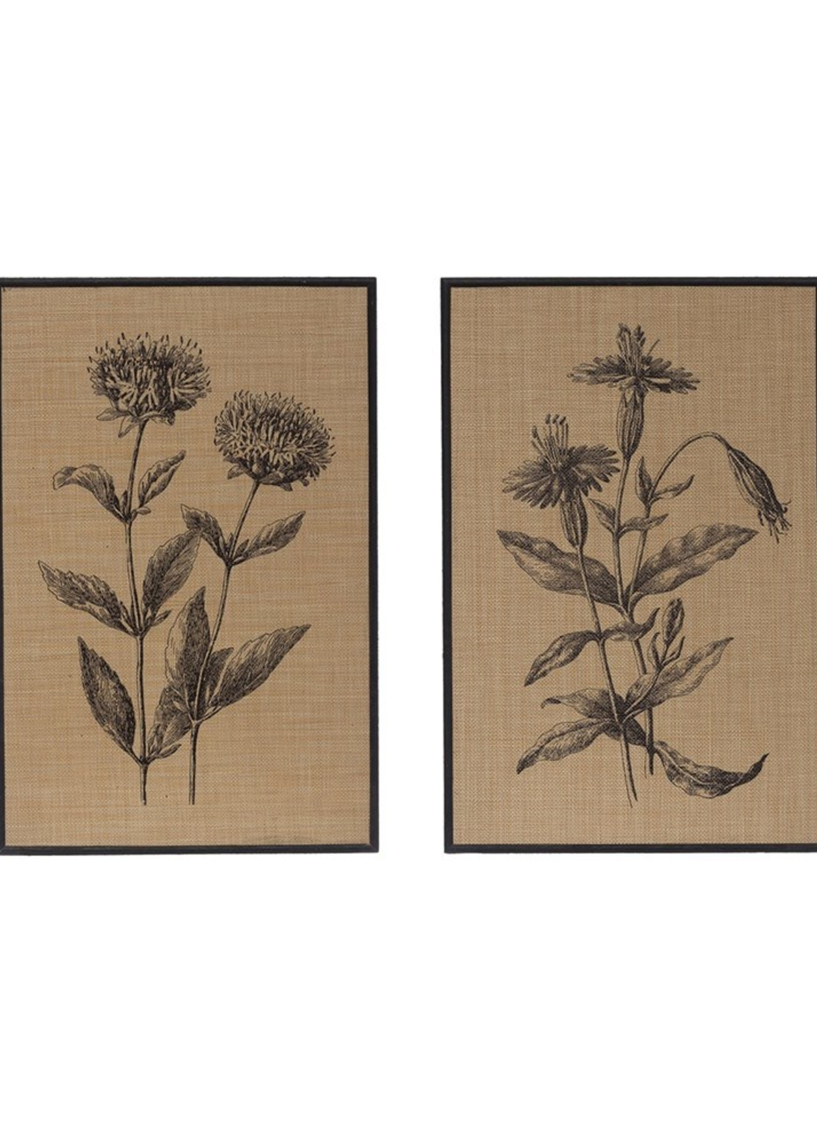Wood Framed Woven Raffia Wall Decor w/ Flowers, 2 Styles