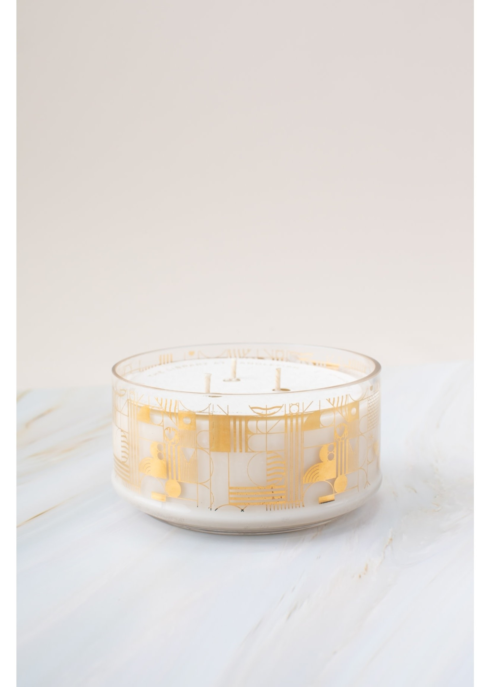 No. 68 Gold Geo Glass Candle 12 oz