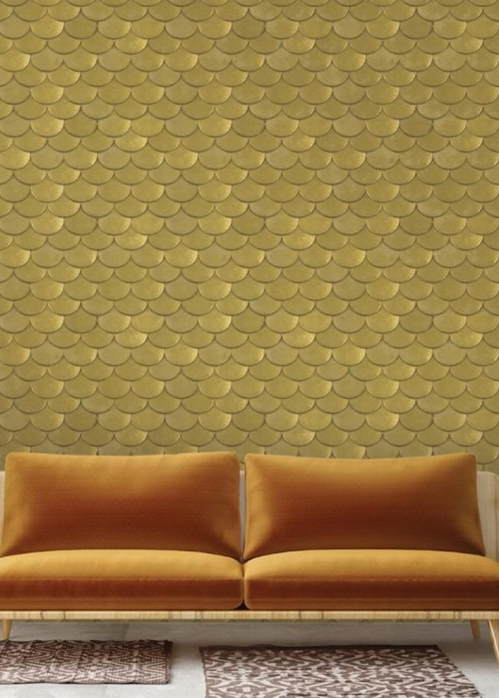 Brass Belly Old World Brass Metallic Wallpaper - double