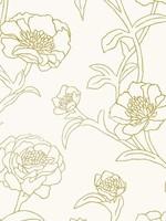 Peonies Gold Leaf Wallpaper - Single