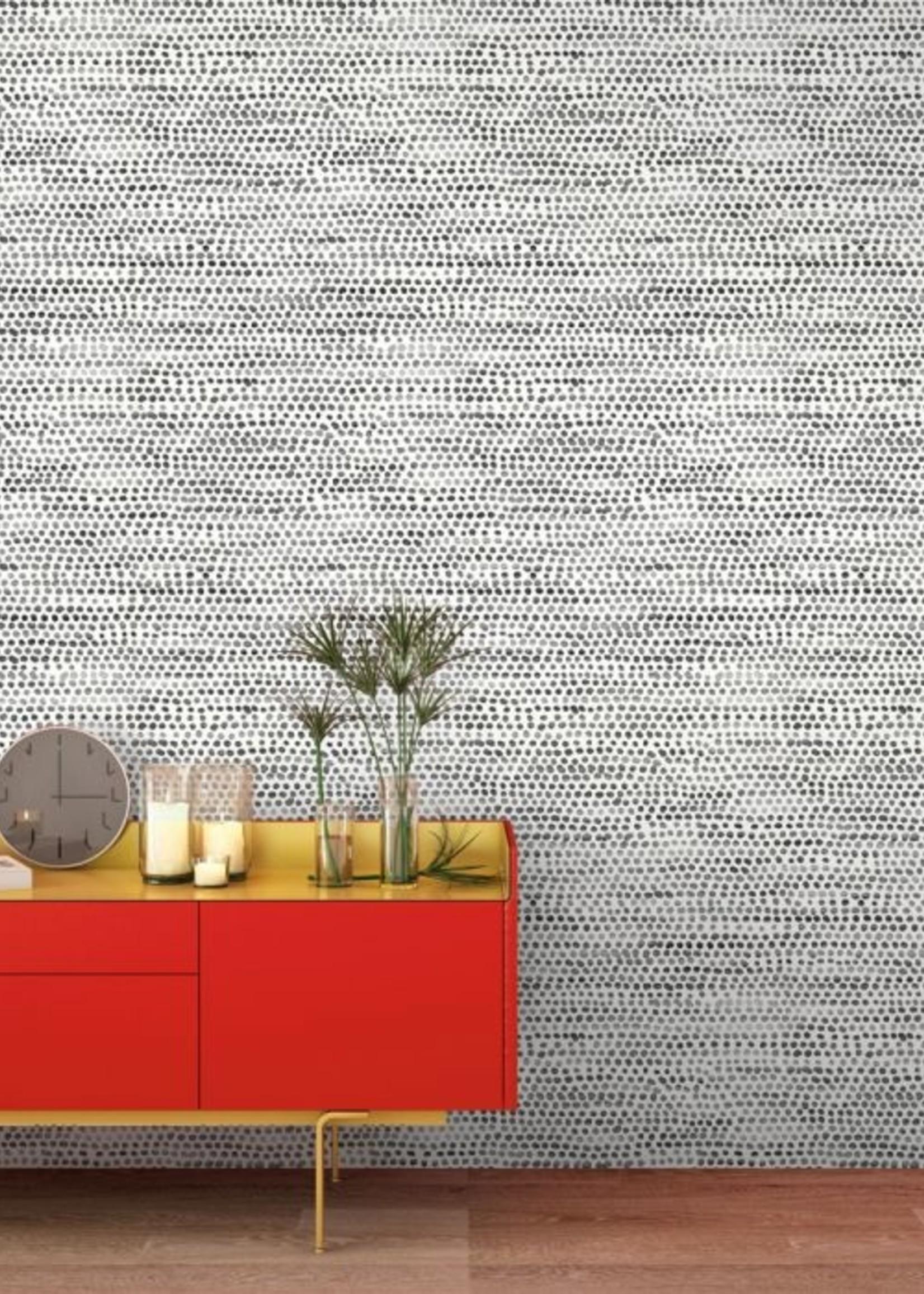 Moire Dots Black & White Wallpaper - Single