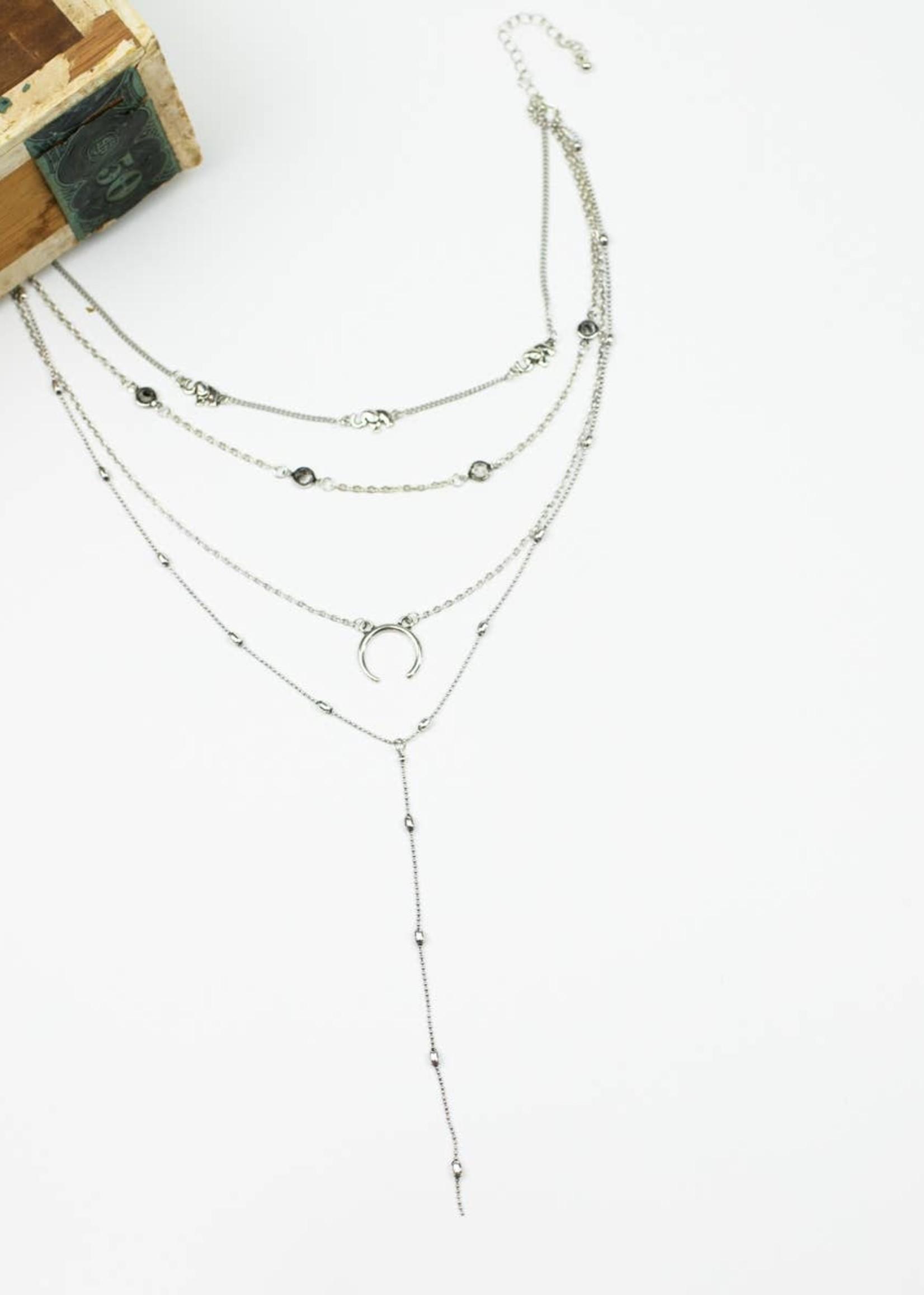 Four Layered Boho Vibe Necklace - Silvertone