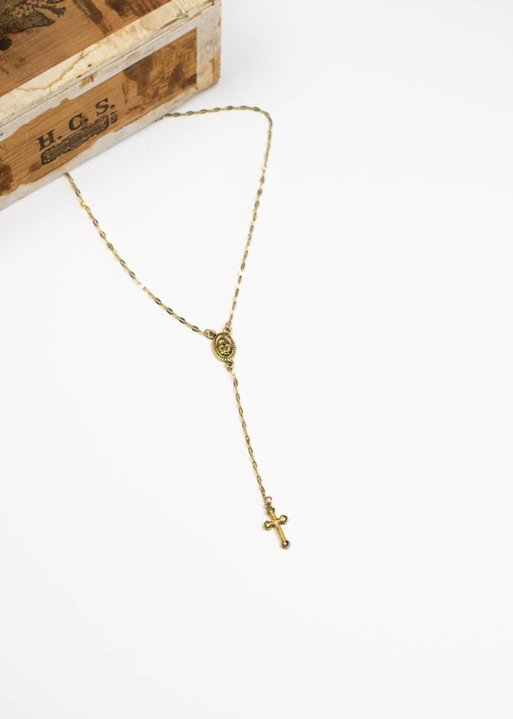 Lariat Style Medallion and Cross Necklace - Goldtone