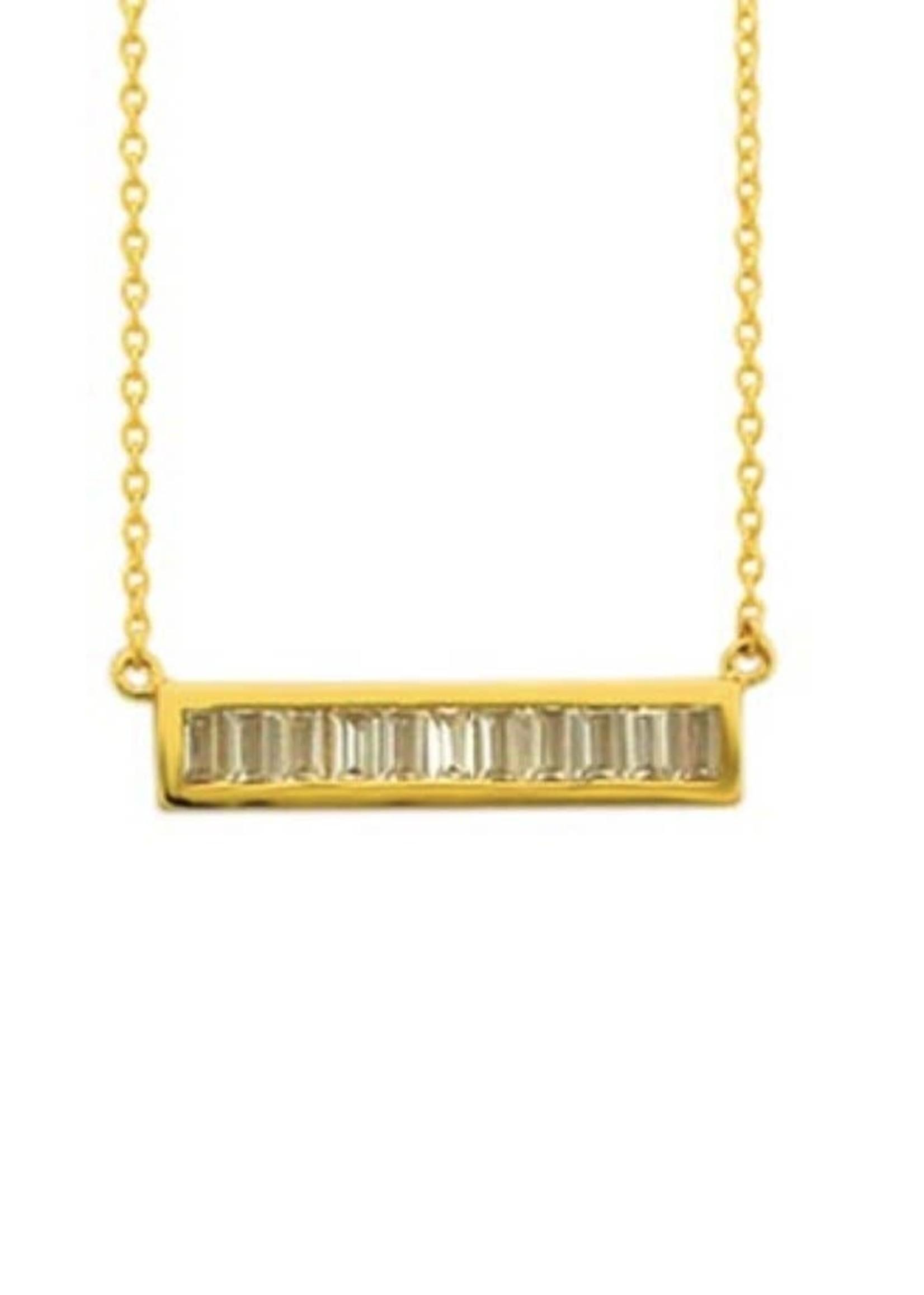 925 Cz Baguette Bar Necklace