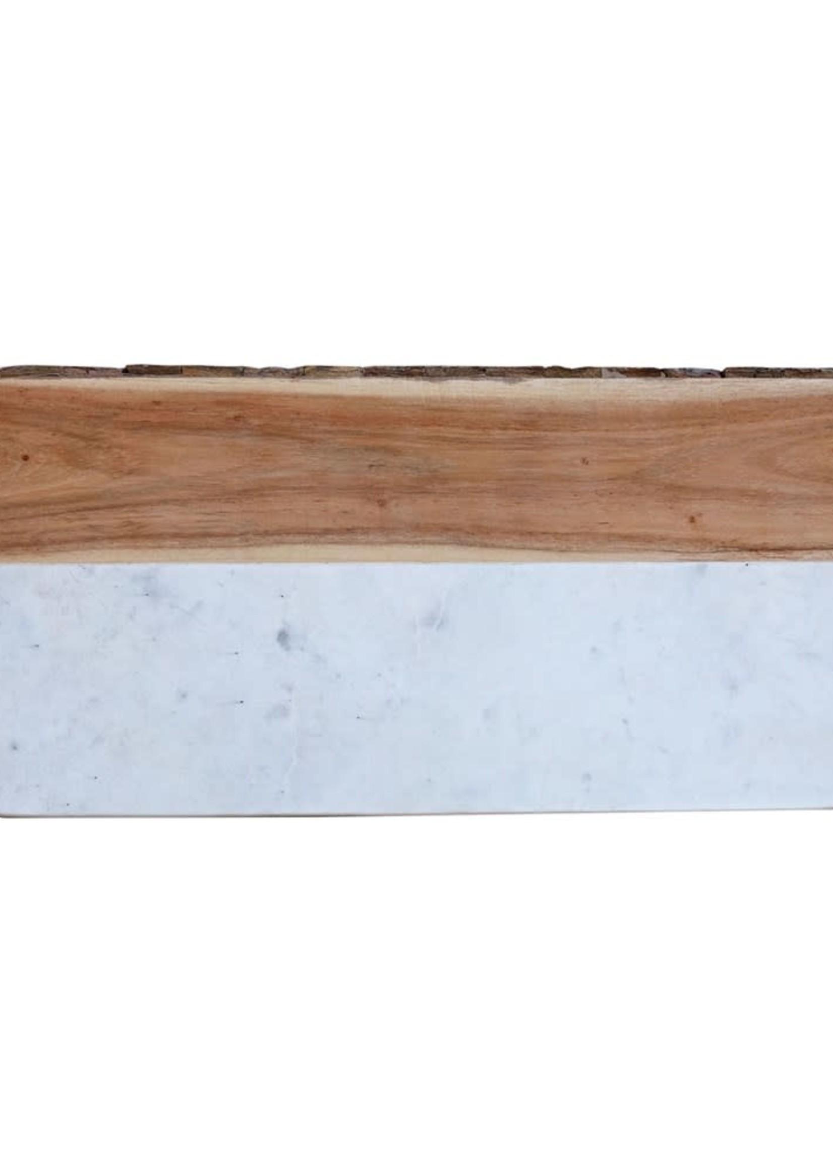 White Marble & Mango Wood Cheese Board w/ Bark Edge (Each One Will Vary)