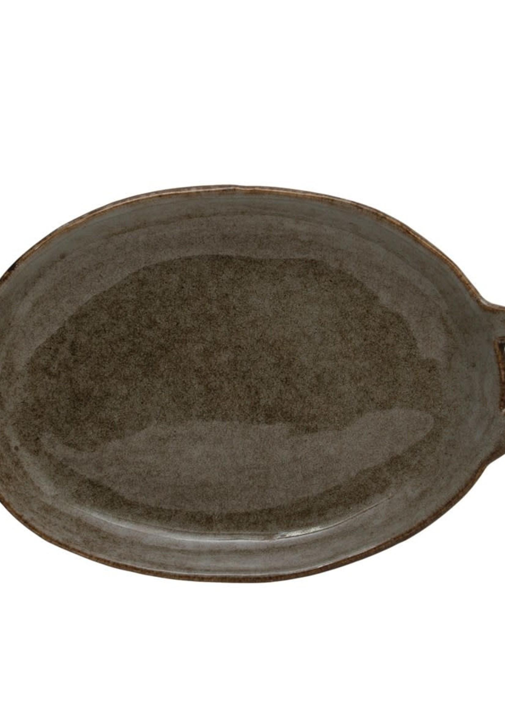 Stoneware Plate with Handle, Reactive Glaze, Grey
