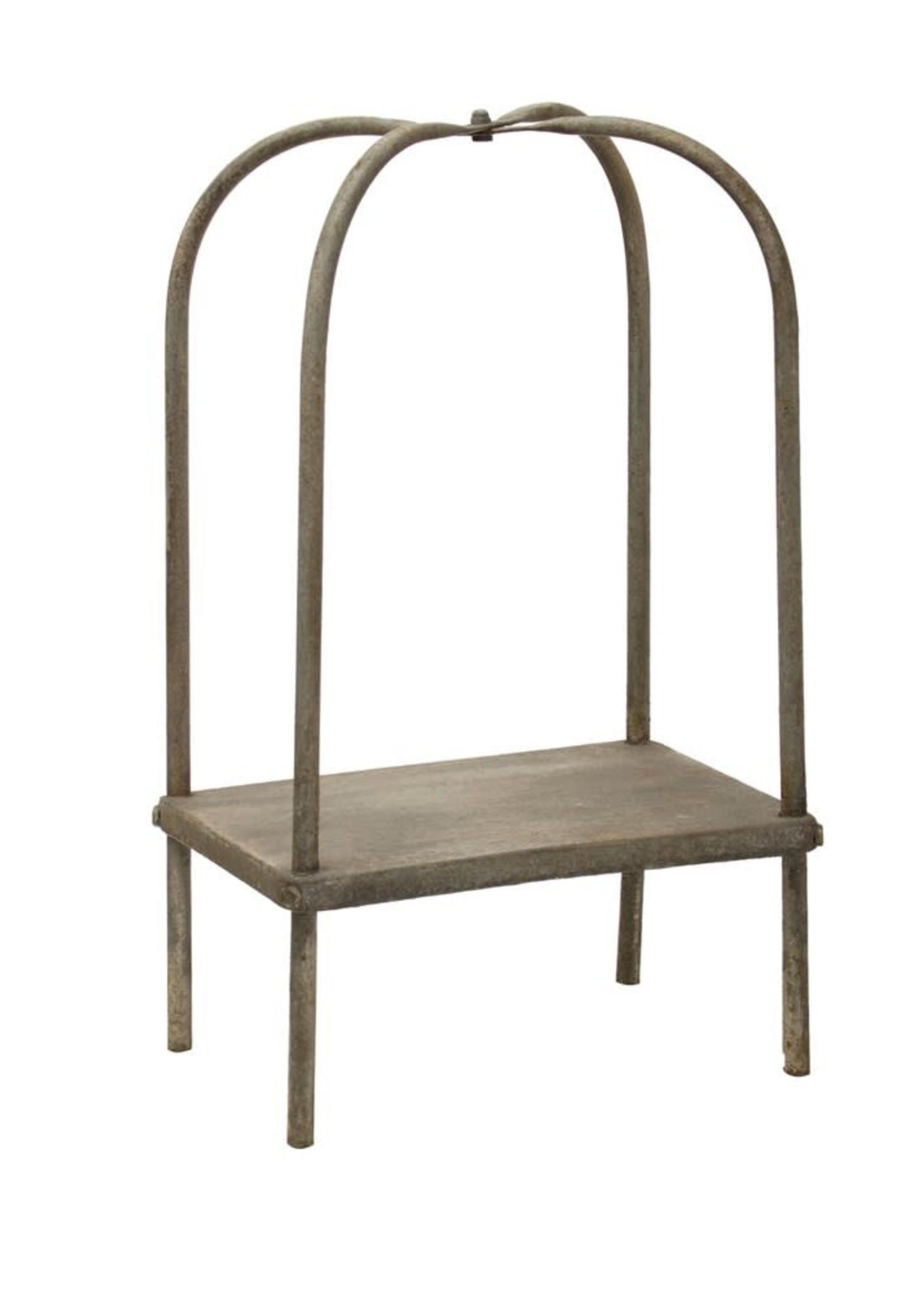 Decorative Metal Pedestal, Distressed Grey Finish