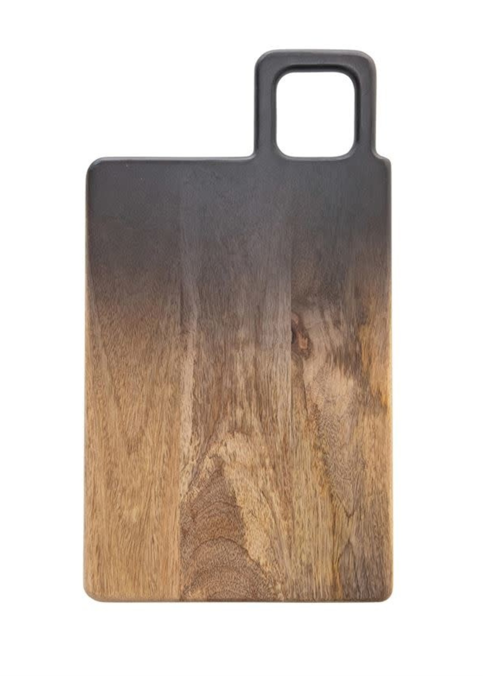 Mango Wood Cheese/Cutting Board with Handle, Black & Natural Ombre