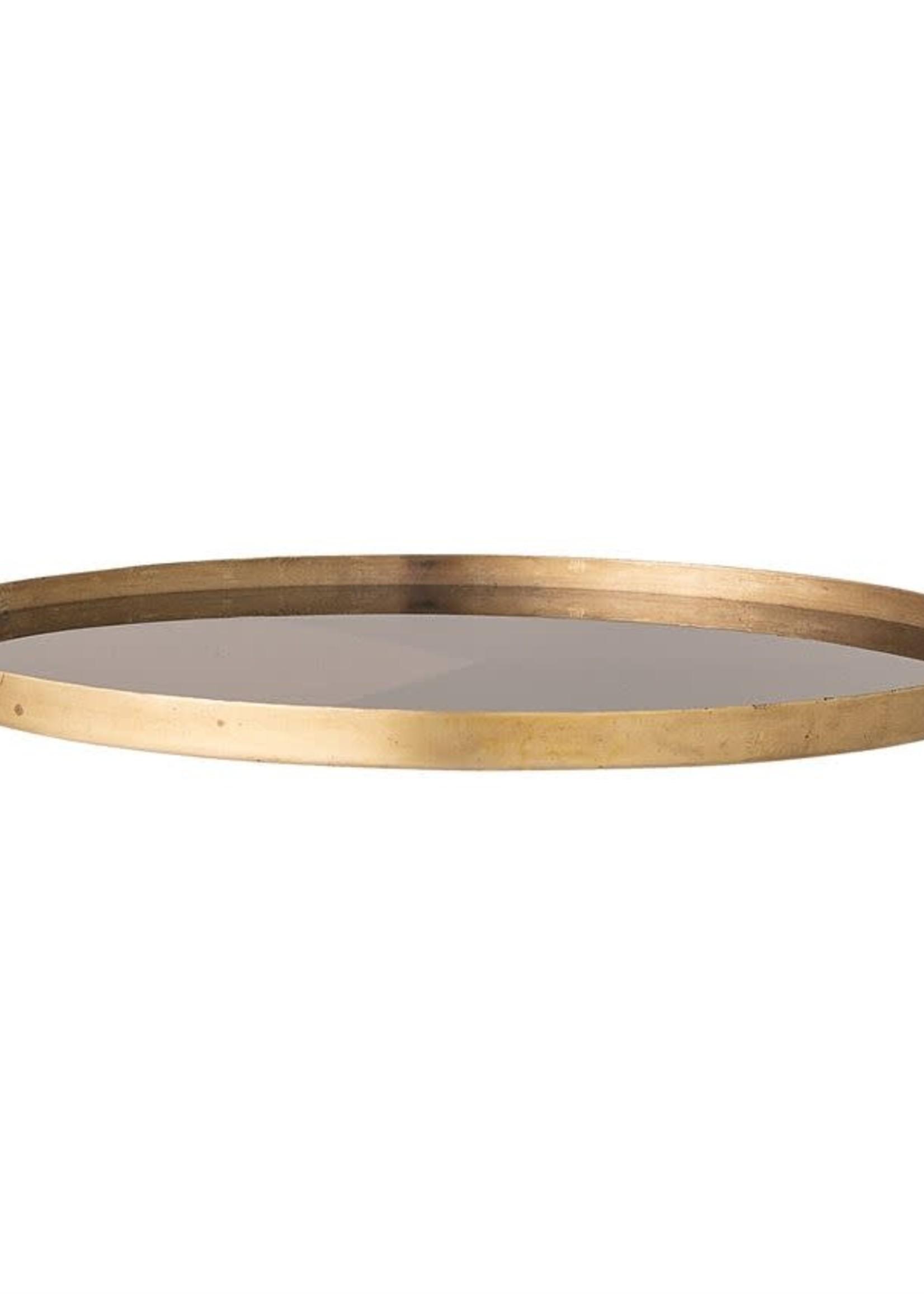Round Decorative Metal & Glass Tray, Navy, Black & Antique Copper Finish