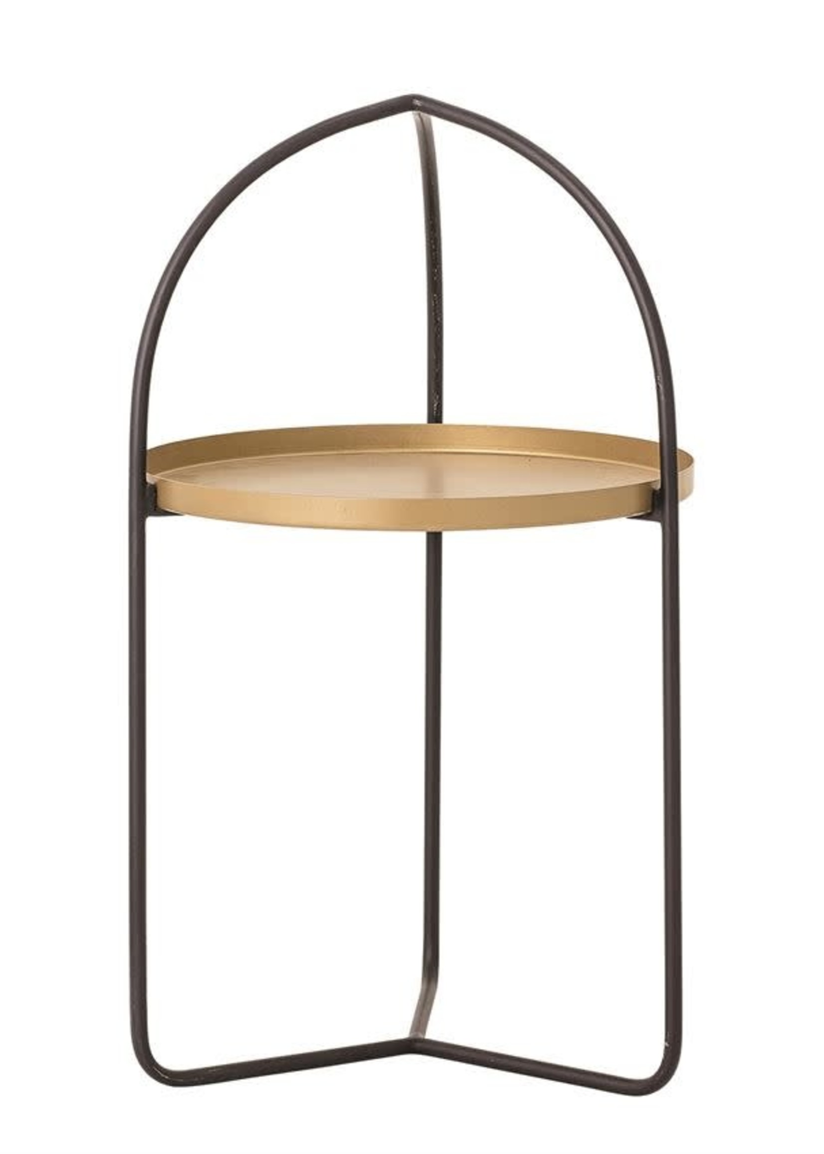 Metal Tray in Stand, Black & Gold Finish